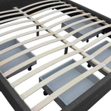 Double Fabric Bed Frame with Storage Drawers Dark Grey - OZZIEBARGAINS