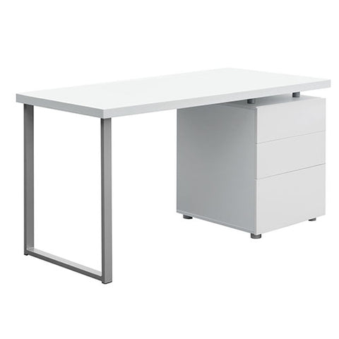 Office Study Computer Desk w/ 3 Drawer Cabinet White
