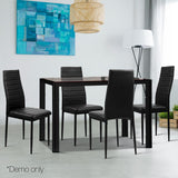5-Piece Dining Table Set - Black - OZZIEBARGAINS