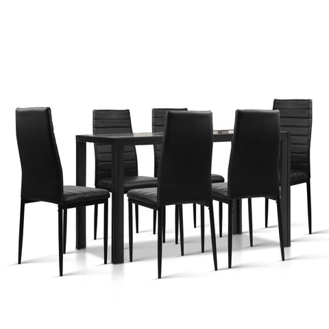 7-Piece Dining Table Set - Black - OZZIEBARGAINS