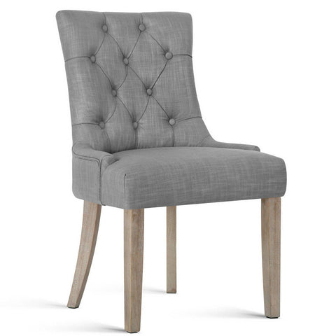 Linen Fabric Retro Dining Chair- Grey