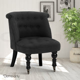 French Provincial Lorraine Accent Chair Linen Fabric Black - OZZIEBARGAINS