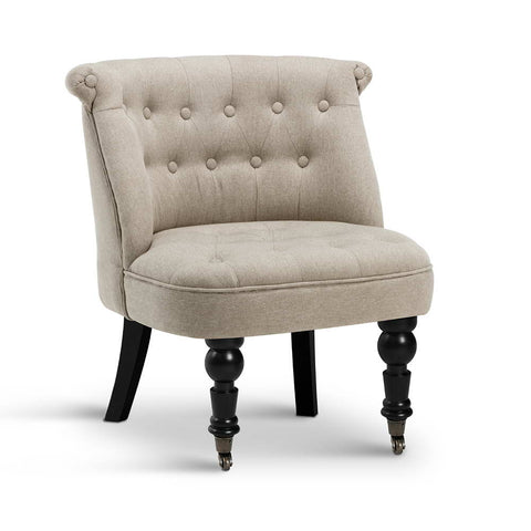 Linen Fabric Occasional Accent Chair -Taupe
