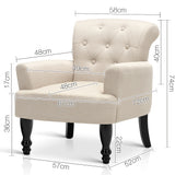 Wing Armchair French Provincial Fabric Taupe - OZZIEBARGAINS
