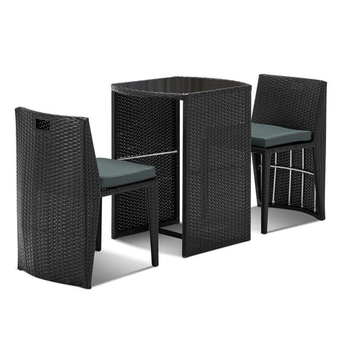 3-piece PE Wicker Outdoor Table and Chair Set - OZZIEBARGAINS