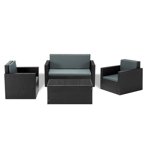 4-piece PE Wicker Outdoor Set - OZZIEBARGAINS