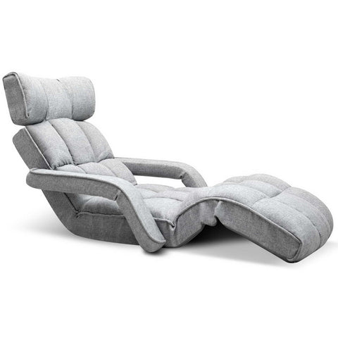 Adjustable Lounger with Arms – Grey - OZZIEBARGAINS