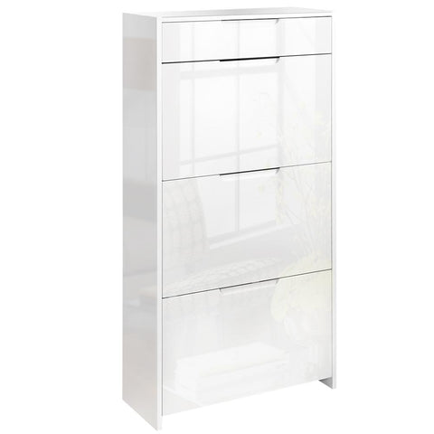 24 Pair High Gloss Wooden Shoe Cabinet - White - OZZIEBARGAINS