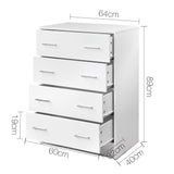 Tallboy 4 Drawers Storage Cabinet White - OZZIEBARGAINS