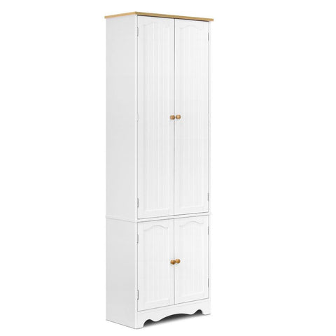 1.8m Tall Six-Tier Pantry Cupboard White - OZZIEBARGAINS