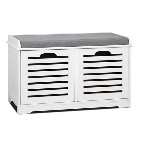Fabric Shoe Bench with Drawers - White & Grey - OZZIEBARGAINS