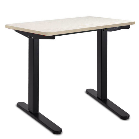 140CM Motorised Height Adjustable Sit Stand Desk White Oak - OZZIEBARGAINS