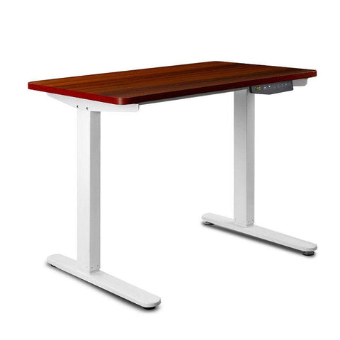 100CM Motorised Height Adjustable Sit Stand Desk Walnut - OZZIEBARGAINS