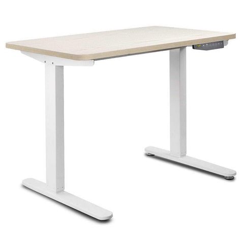 100CM Motorised Height Adjustable Sit Stand Desk White Oak - OZZIEBARGAINS