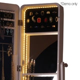 Jewellery Mirror Cabinet with Interior mirror LED lights White - OZZIEBARGAINS