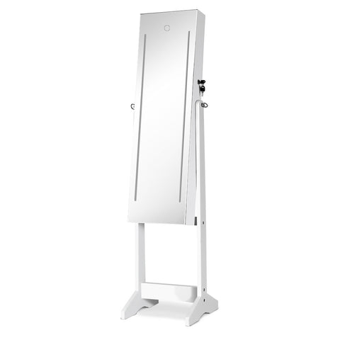 Lockable LED Mirror Jewellery Cabinet White