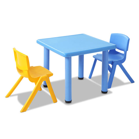 3 Pcs - Kids Table and Chairs Playset - Blue - OZZIEBARGAINS