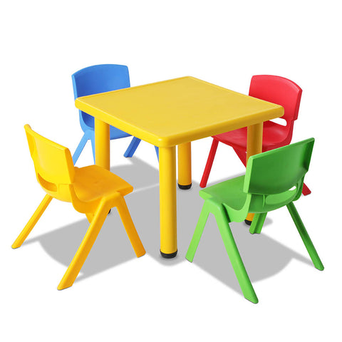 5 Pcs - Kids Table and Chairs Playset - Yellow - OZZIEBARGAINS