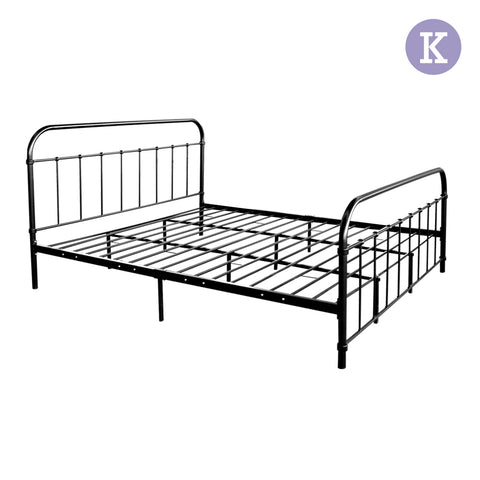 King Metal Bed Frame Black