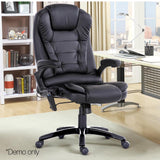 8 Point Massage Executive PU Leather Office Chair Black - OZZIEBARGAINS