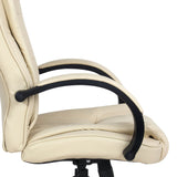 Executive PU Leather Office Computer Chair Beige - OZZIEBARGAINS