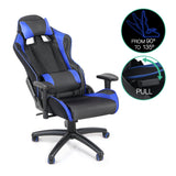 PU Leather & Mesh Reclining Office Desk Gaming Executive Chair Black Blue