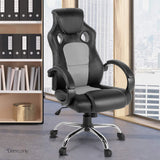 Racing Style PU Leather Office Chair Grey