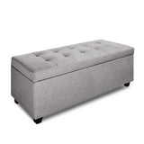 Large Linen Fabric Storage Ottoman - Light Grey