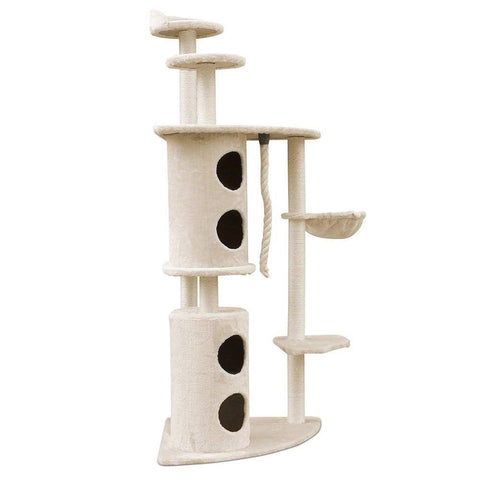 170cm Multi Level Cat Scratching Post - Beige - OZZIEBARGAINS