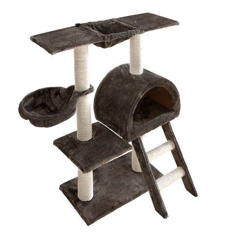 Multi Level Cat Scratching Poles Tree w/ Ladder Grey