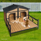 Double Pet Dog Kennel - Black - OZZIEBARGAINS