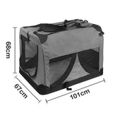 Extra Large Portable Soft Pet Dog Crate Cage Kennel Grey - OZZIEBARGAINS