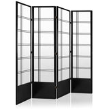 4 Panel Room Divider - Black - OZZIEBARGAINS