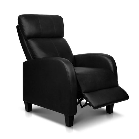 PU Leather Reclining Arm Chair - Black