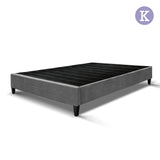 King Bed Base Frame Pine Wood Slats Grey