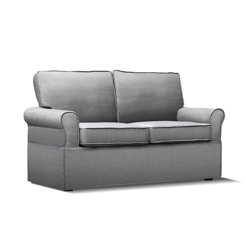 2-seater Fabric Sofa Bed Grey - OZZIEBARGAINS