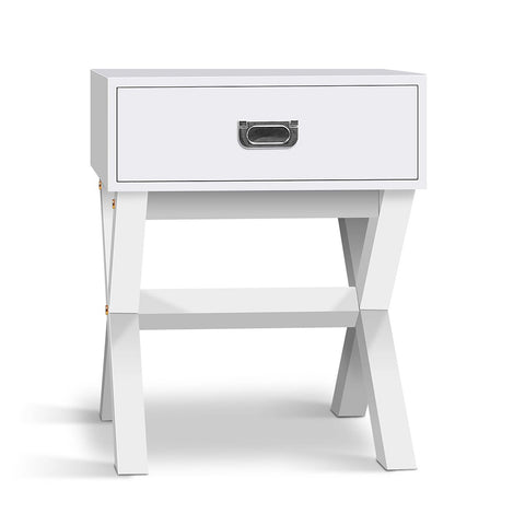 Timber Bedside Table - White