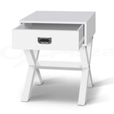 White Timber Bedside Side Table - OZZIEBARGAINS
