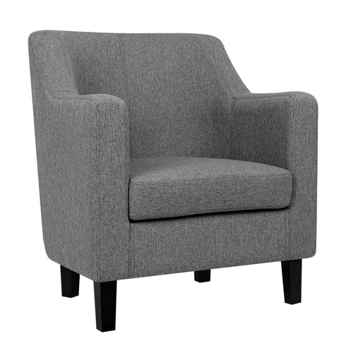 Fabric Dining Armchair - Grey - OZZIEBARGAINS