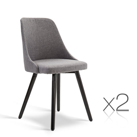 Set of 2 Fabric Dining Chair Grey