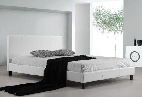 Double PU Leather Bed Frame White - OZZIEBARGAINS
