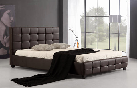 Double PU Leather Deluxe Bed Frame Brown - OZZIEBARGAINS