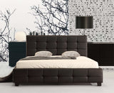 Double PU Leather Deluxe Bed Frame Black - OZZIEBARGAINS