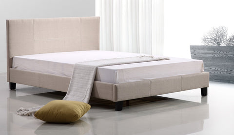 Double Linen Fabric Bed Frame Beige - OZZIEBARGAINS