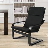 Birch Plywood Fabric Lounge Armchair - Black - OZZIEBARGAINS