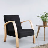 Birch Plywood Fabric Sofa Arm Chair Black - OZZIEBARGAINS