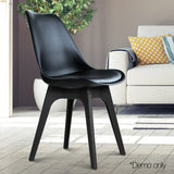 Set of 4 Replica Eames DSW PU Leather Chair Black - OZZIEBARGAINS