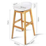 Set of 2 High Seat Back Bar Stools White - OZZIEBARGAINS