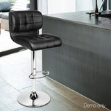 Set of 2 Leather Bar Stools - Black - OZZIEBARGAINS