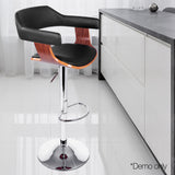 PU Leather Wooden Kitchen Bar Stool Black - OZZIEBARGAINS
